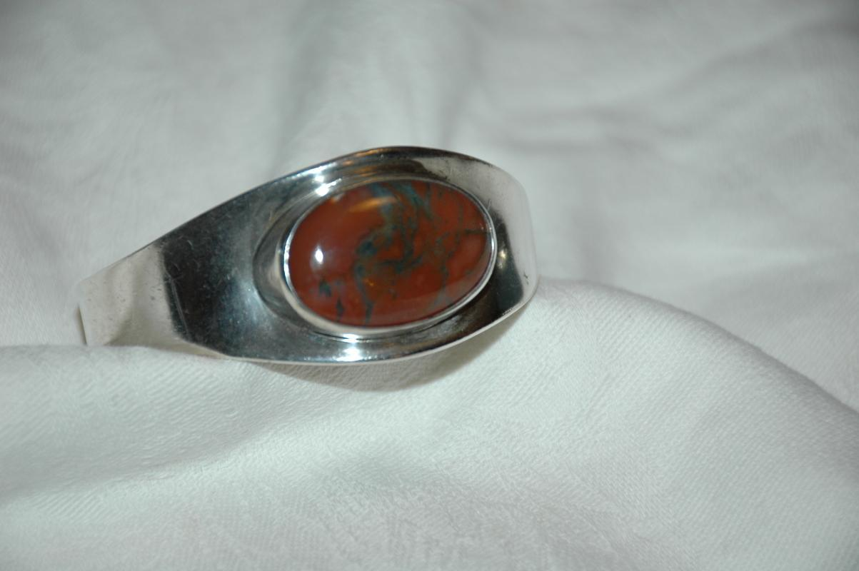Bent Knudsen Modernist  Denmark Sterling Silver Bracelet #19 with stone