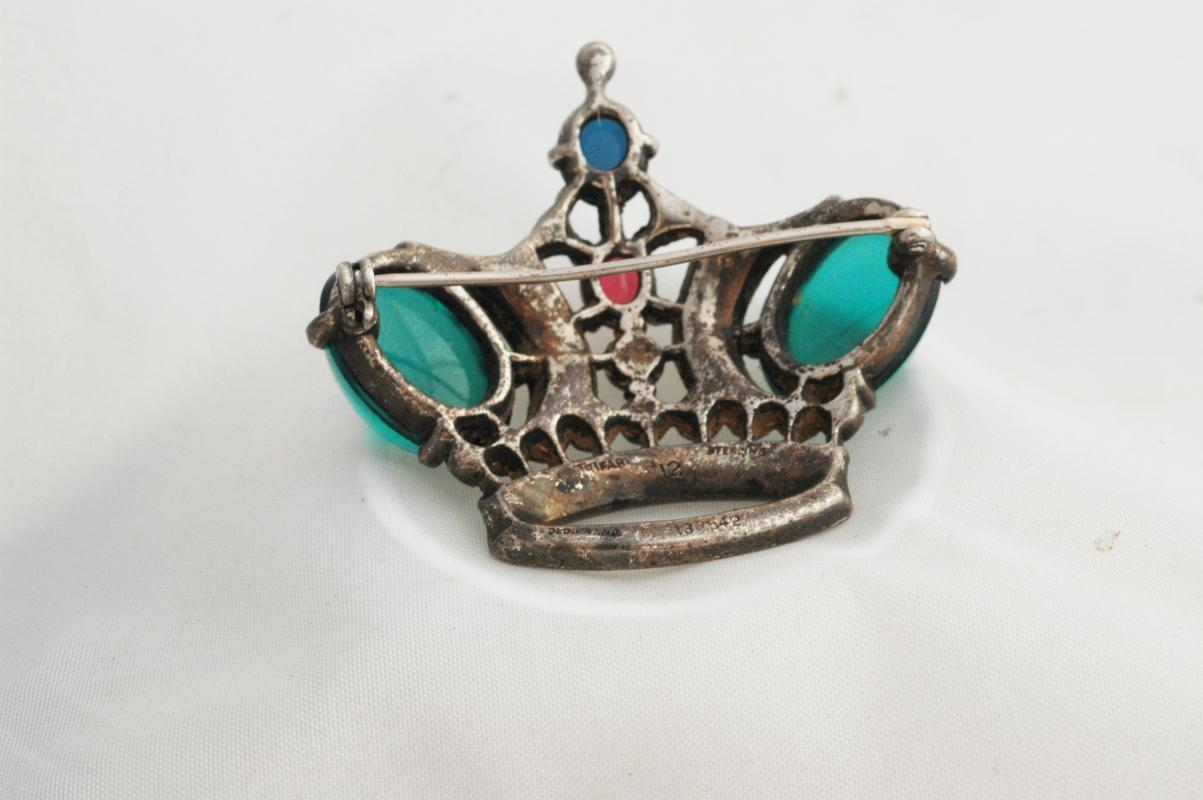 1944 TRIFARI  Signed Sterling Silver   Crown Brooch (Book-Piece) # 12
