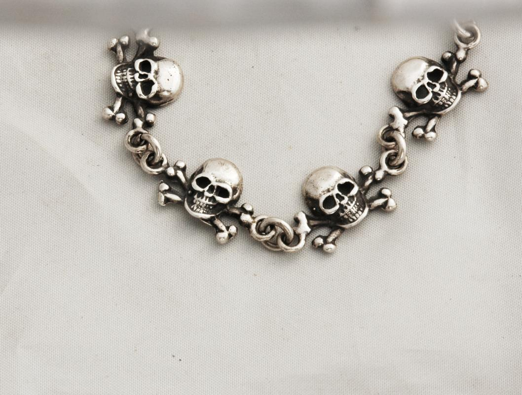 Skull and Crossbones Solid Sterling Silver  Bracelet , Day of the Dead