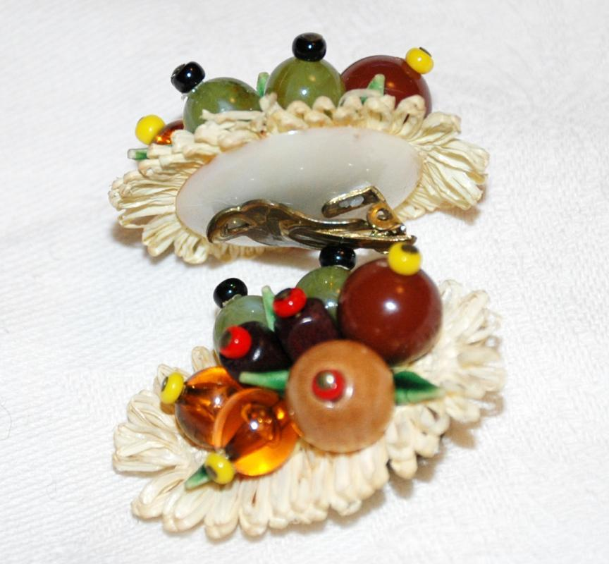 Fruit Salad Straw and Glass Clip on Earrings, West Germany  Vintage
