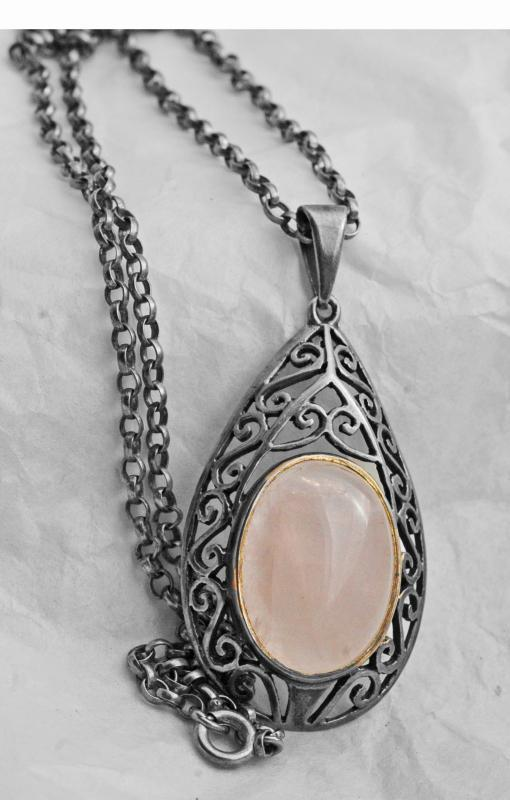 Rose Quartz Sterling Silver Tear Drop Pendant Necklace on Sterling Chain - long and large