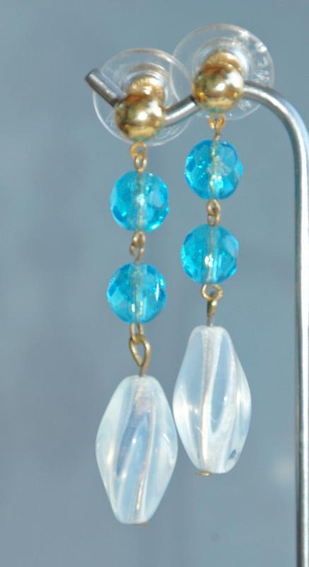 Moonstone Twist Czech & Aqua Blue  Crystal Glass Bead Dangle Earrings Hand Crafted One of Kind