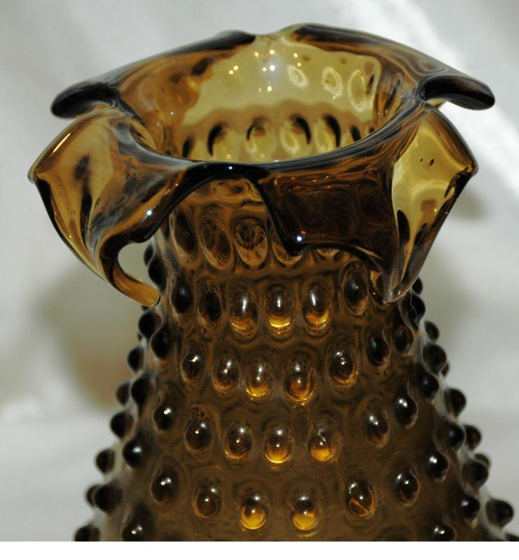 Blown Glass Hobnail Folded Ruffle Vase / Dark Green Olive Amber Empoli Italian vase