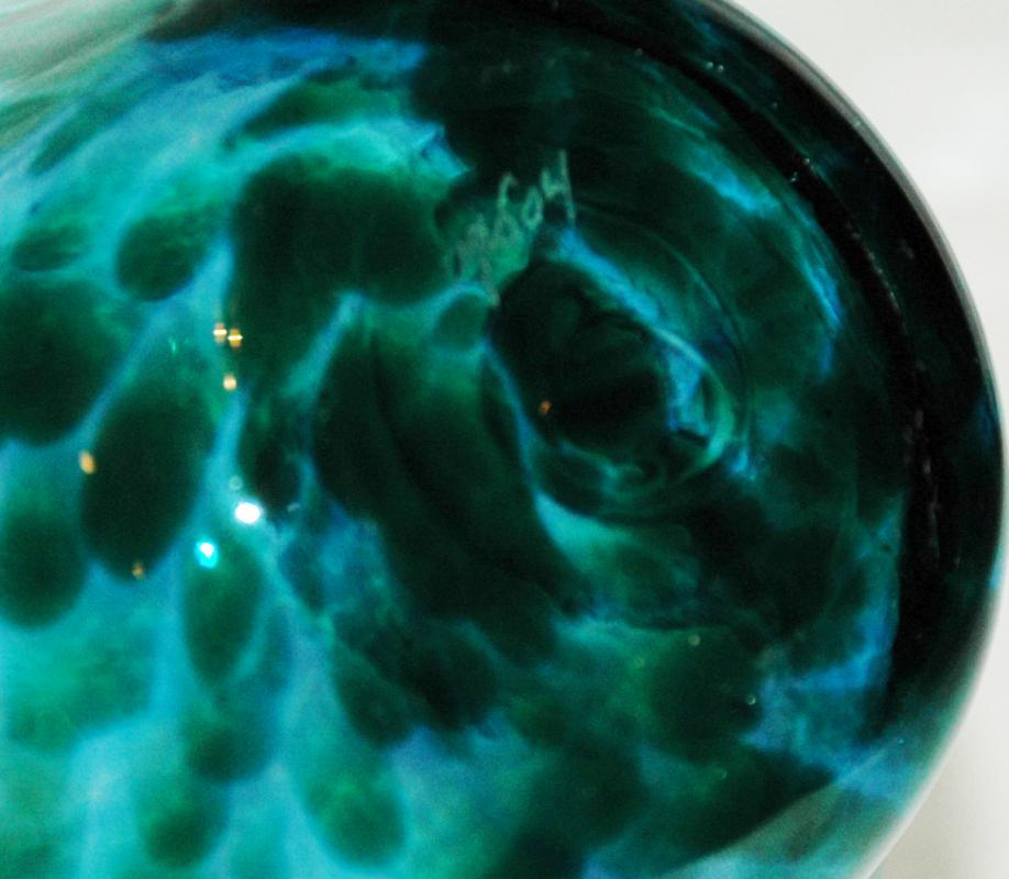 Hand Blown Art Glass Ruffle or Mini Floppy Bowl Blue Green/  Artist Signed -