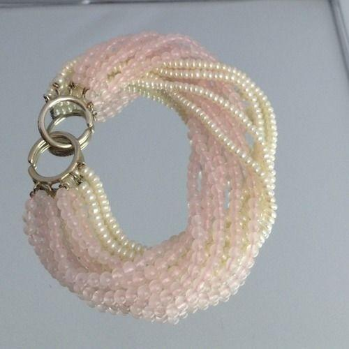 PALOMA PICASSO TIFFANY BRACELET Sterling  Rose Quartz and White Pearls Multiple Strand