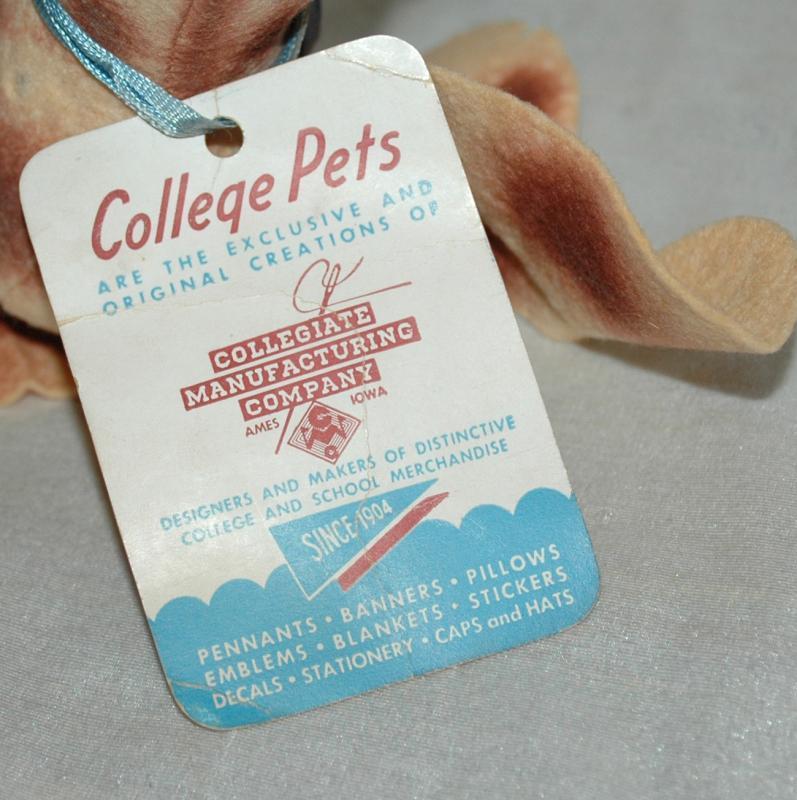 Notre Dame Stuffed Wool Felt Dog - College Pet - 1940's- Peppy
