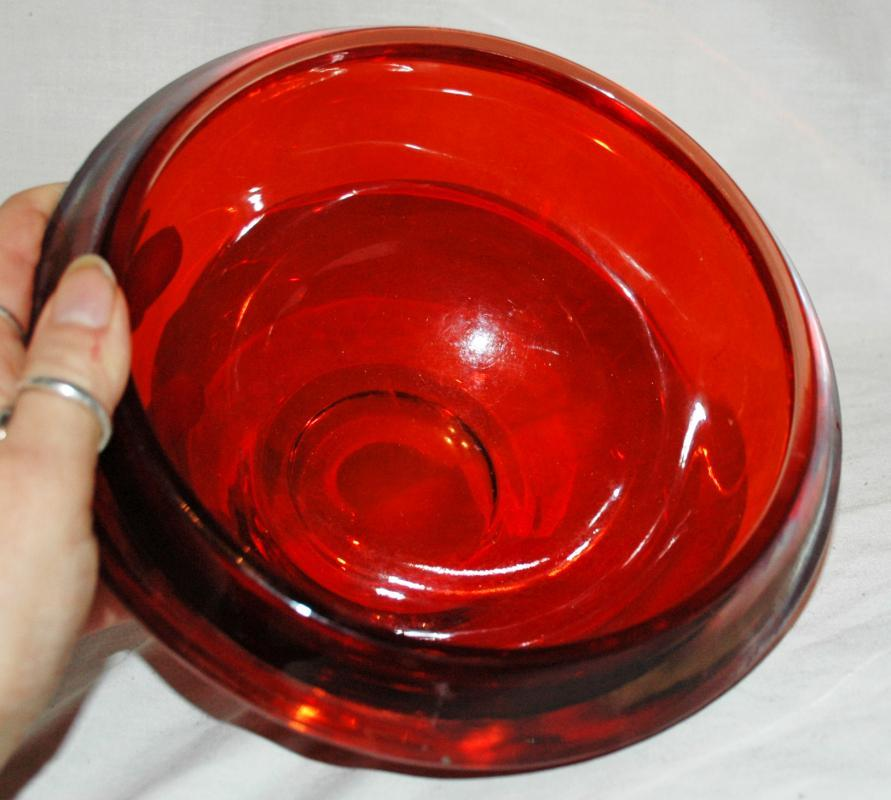 Flavio/ Seguso for Murano  Sommerso   Heavy Orange  Glass Centerpiece or Rose Bowl  Hand Blown Art Glass