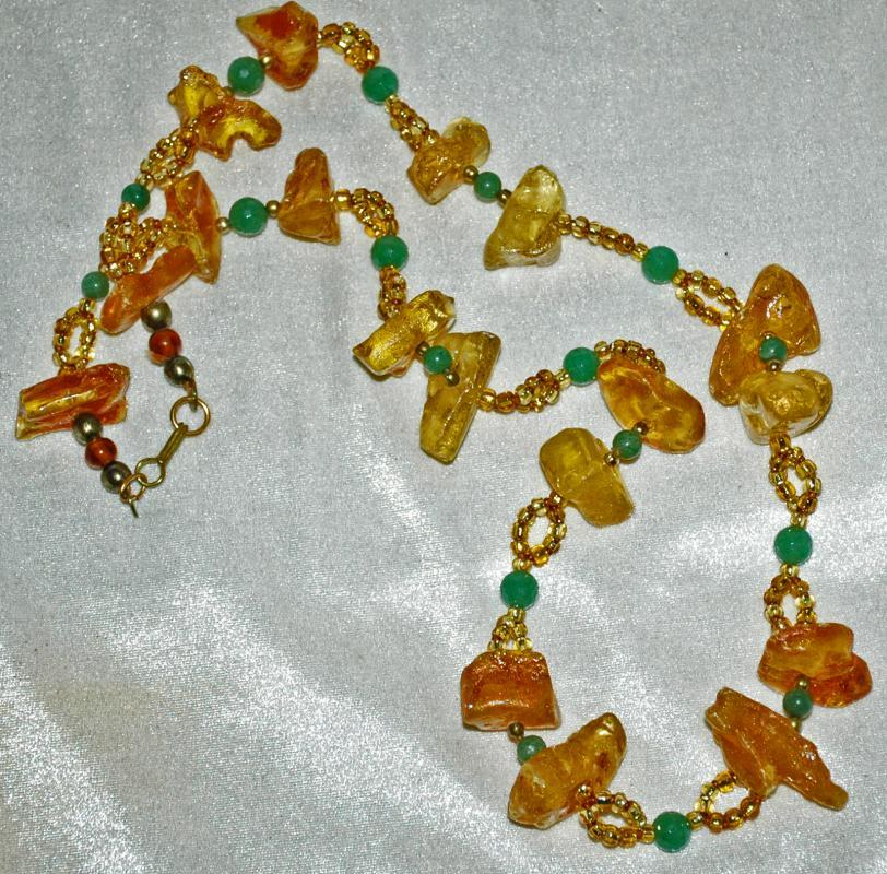 Raw Chunky Amber Jadeite and Aventurine Stone Necklace, Hand Crafted