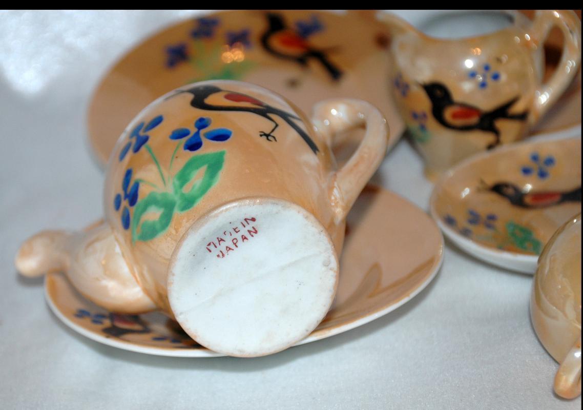 VINTAGE MINIATURE LUSTERWARE CHILD'S/DOLL TEA SET  MADE IN JAPAN