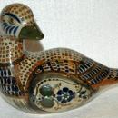 Large Hand-Painted Mexican Pottery Duck with turned head