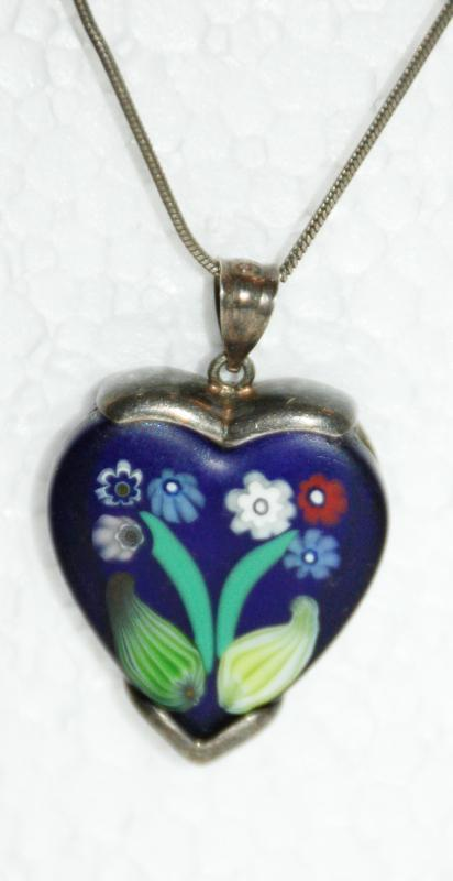 Blue Heart with flowers Millefiori tm Sterling Silver Pendant necklace on long sterling chain.