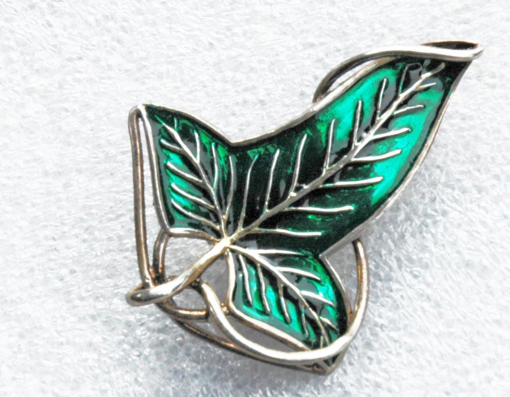Heavy sterling silver enamel leaf pin Lord of the Rings Sterling Silver Elven Leaf Brooch by Noble