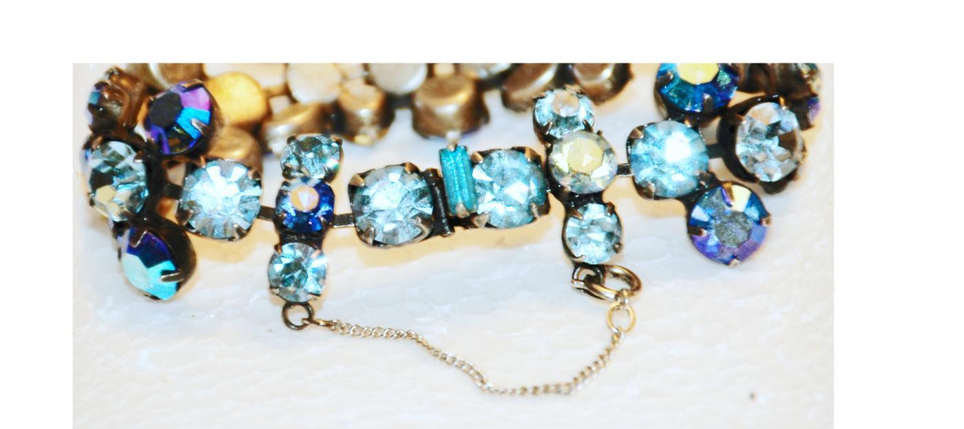 Regency Blue Faceted Crystal Rhinestone Bracelet