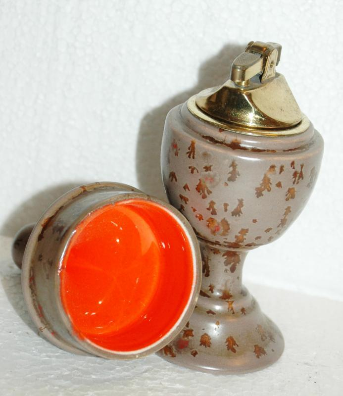 Fat Lava Footed  & Lidded Apothecary or Urn Style Pottery Table Lighter  Mid-Century Moderist