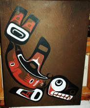 Northwest Native American First Nations  Art Orginal Painting on Board Signed