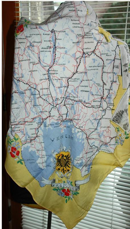Swedish Road Map & Coat of Arms Silk Scarf mid century Varmland Tourist Souvenir