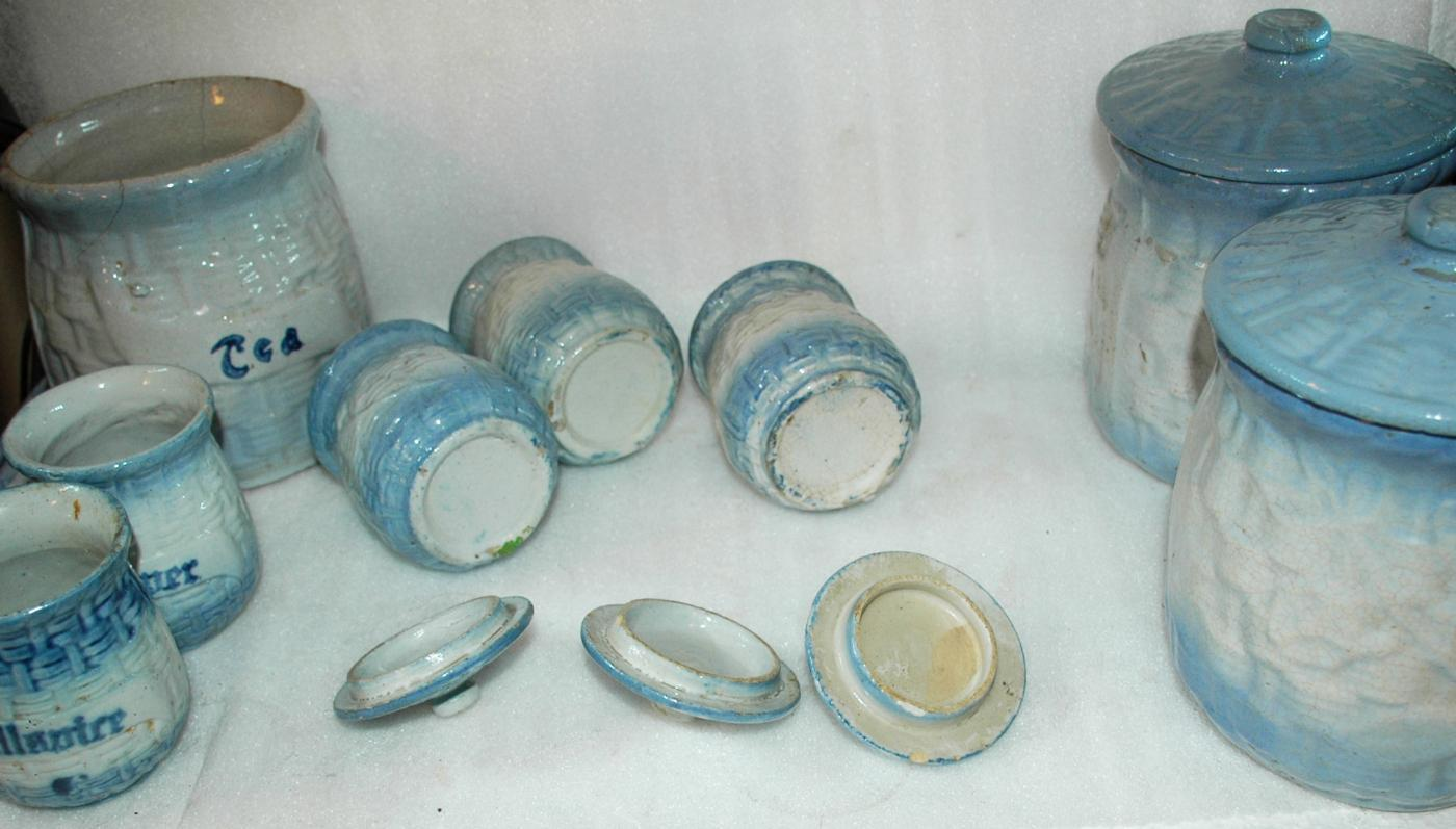 Antique Blue White Basket Weave Morning Glory  Stoneware Salt Glaze Kitchen  Spice Jars & Cannister Set RARE  13 pc