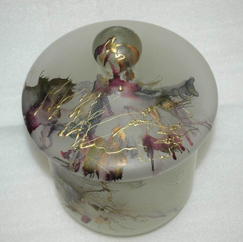 Romanian Art Glass Large Frosted Satin Glass Storage Jar with Splatter Design from Romania