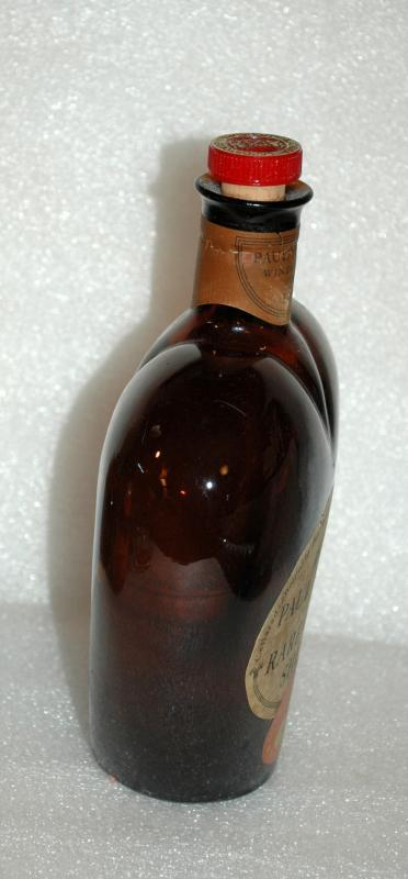 HEART Shape Vintage Brown Glass  Paul Mason Rare Sherry Bottle with orig label and cork