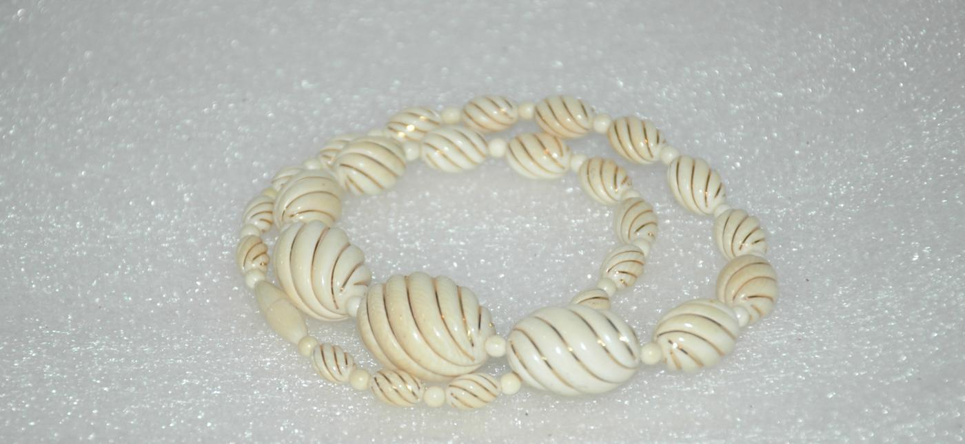 14K Gold &  Antique Twisted Pre-Ban Ivory Beaded Necklace Estate Piece