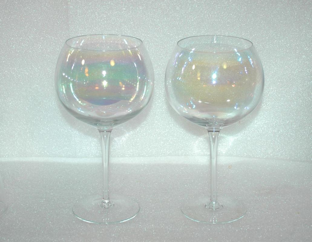 2 Dorothy Thorpe Crystal Bubble Clear Iridescent Wine Glass - Mint Vintage 1960s