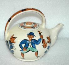 Ethnic Folk Art  Pudgy Tea Pot Teapot From Denmark Mandolin / Fiddle Players Signed Marra 35