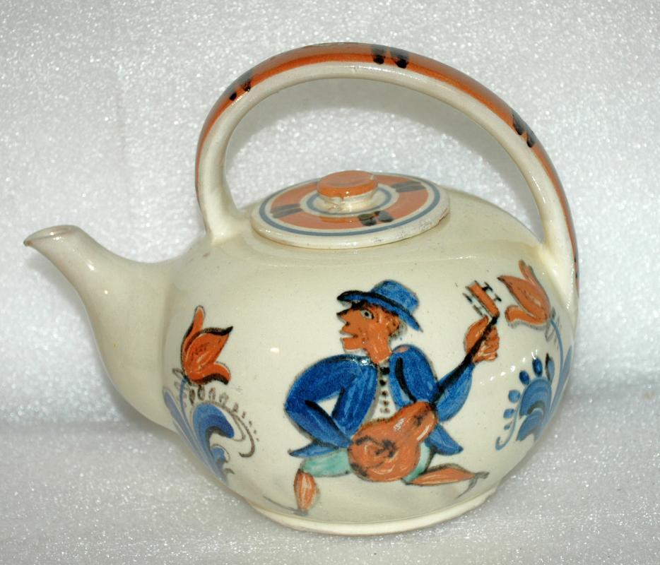 Ethnic Folk Art  Pudgy Tea Pot Teapot From Denmark Mandolin / Fiddle Players Signed Marra 35
