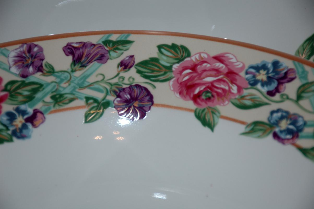 FITZ & FLOYD/OMNIBUS BRITTANY LOT/4 SOUP BOWLS ROSES