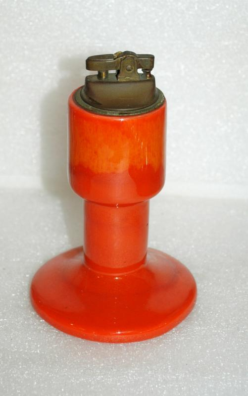 Mid-Century Eames Era Orange Drip Glaze Pottery Table Lighter