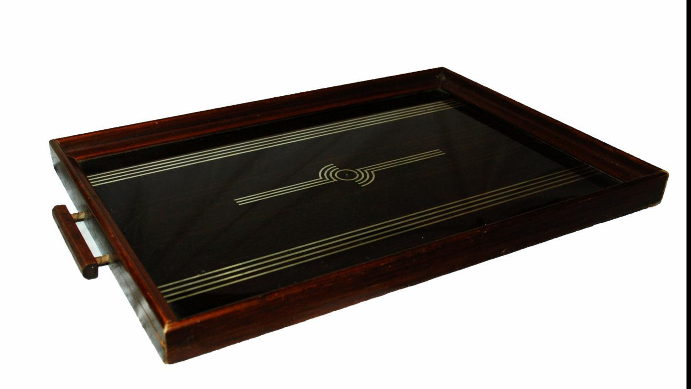 ART DECO MIRRORED PATTERN SERVING TRAY/'30'S