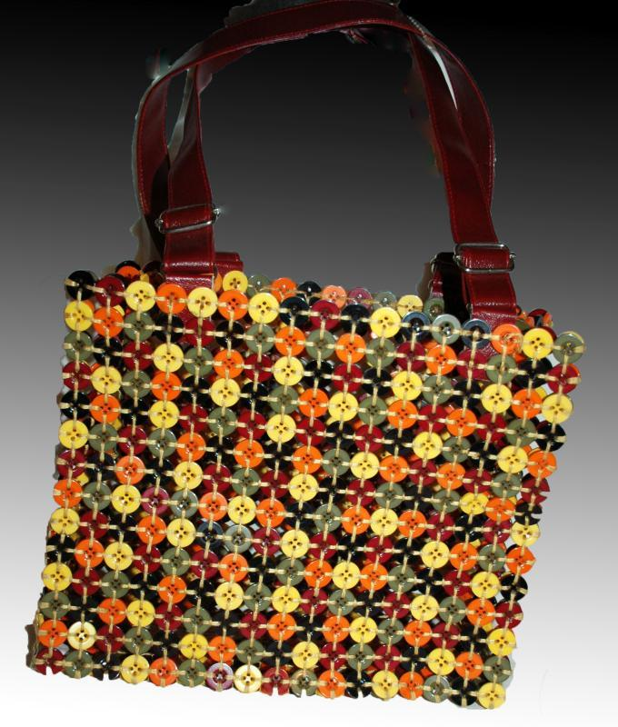 Button Hand Bag, Tote,  Purse Colorful Fun of Woven Multi Colored Buttons.