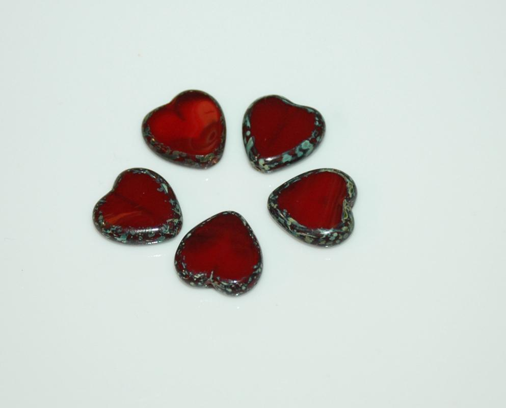 Czech Glass Beads Heart 15mm Oxblood or Garnet  Red   Picasso Lot of 5