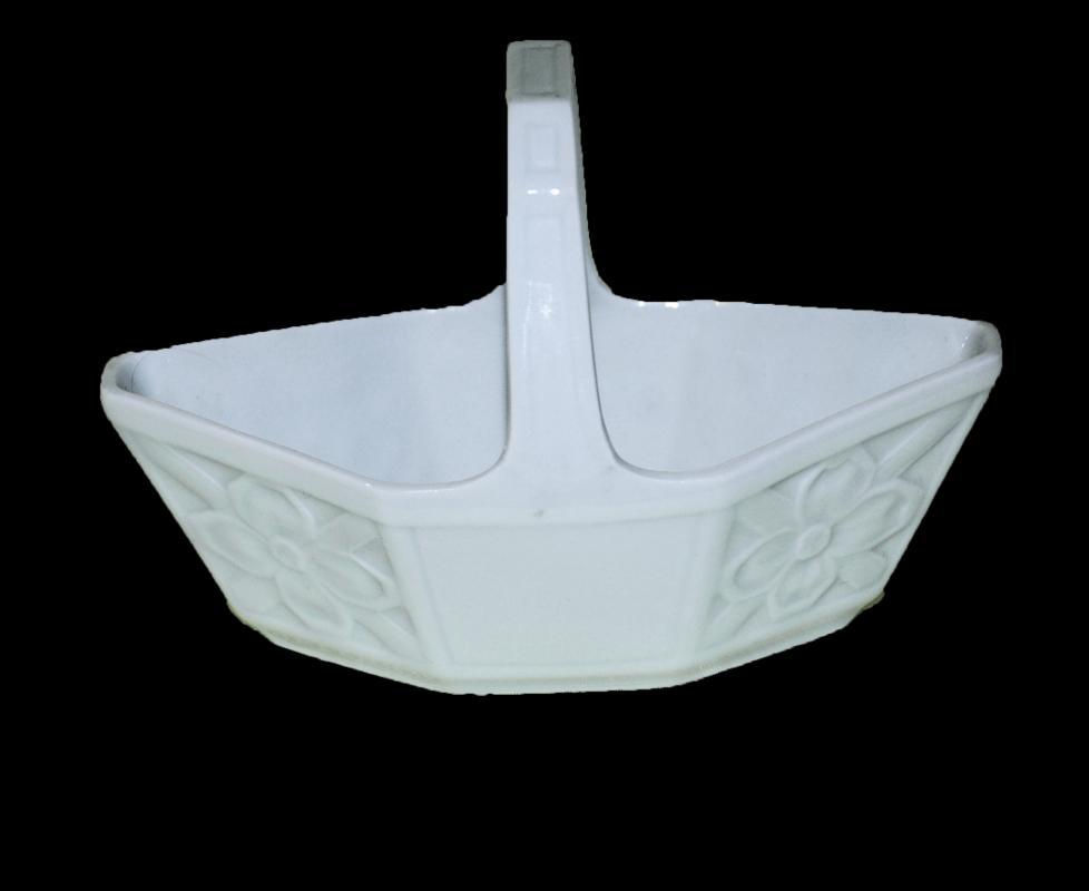 Limoges France White Porcelain Handled Basket / Geometric Ovate Paneled