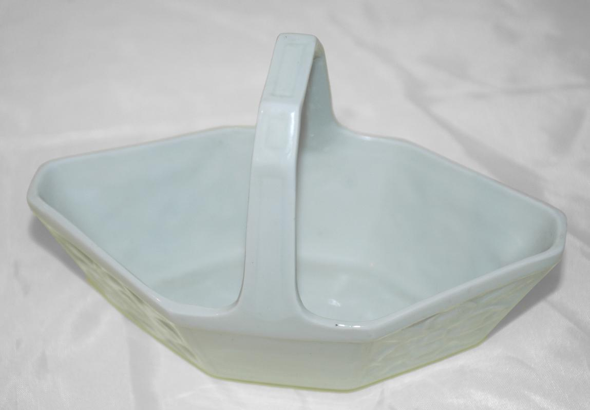 Limoges France White Porcelain Handled Basket / Geometric Ovate Paneled
