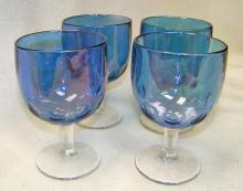 Carnival Blue Bartlett Collins Thumbprint Beer / Water Glasses or  Goblets x 4 Iridescent Bowl , Clear Stems Mid-Century