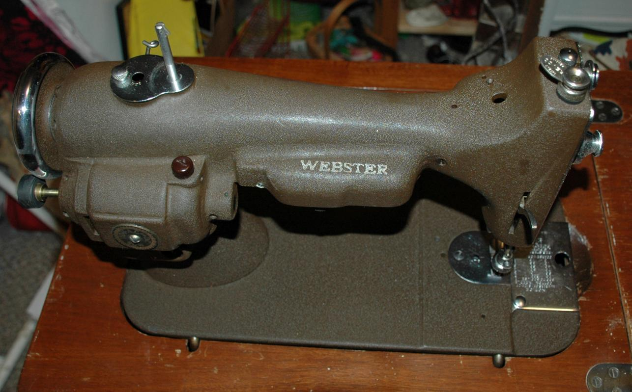 Rare Webster Sewing Machine Compact Size in Cabinet with Knee Control