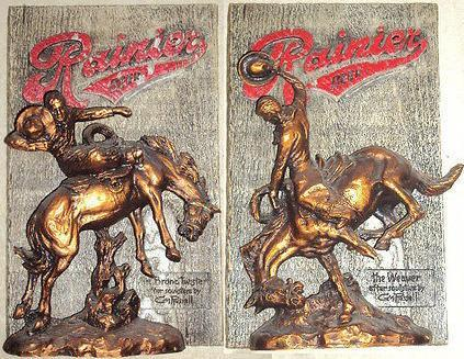 Pair of Rainier Beer Wall Plaque Sculptures   CM Russell  Very Old Rare Advertising