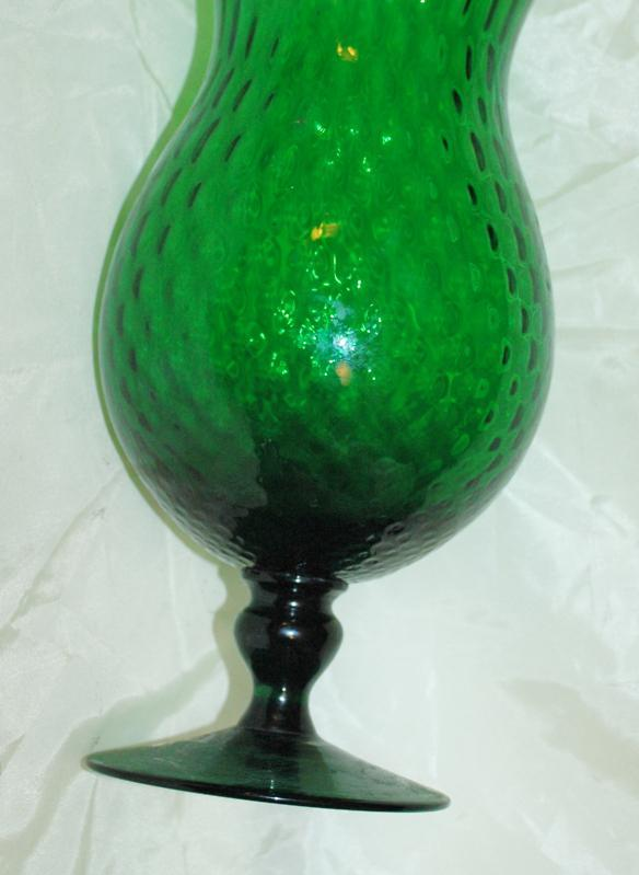 Mid-Century Green Empoli Morano Italy Diamond Optic Footed Vase / Very large
