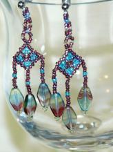 Hand Crafted Beaded Dangle Earrings , Arizona Sunset