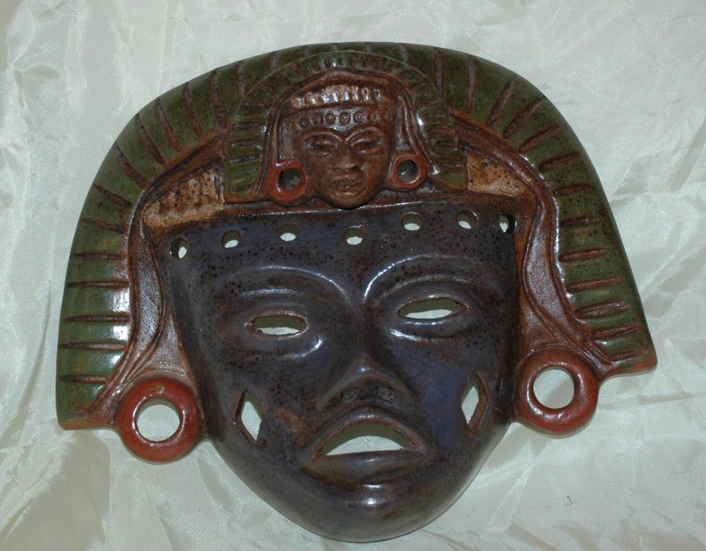 Teotihuacan Mexico Handcrafted Mexican Pottery Clay Warrior  Mask with 2 faces  Aztec or Mayan