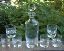 LA PIANA CRISTAL AU PLOMB Bubble Decanter & 6  Glasses