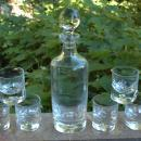 LA PIANA CRISTAL AU PLOMB Bubble Decanter & 6  Glasses