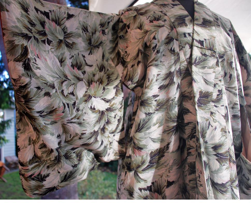 Vintage Japanese Hand Painted Silk Kimono full length
