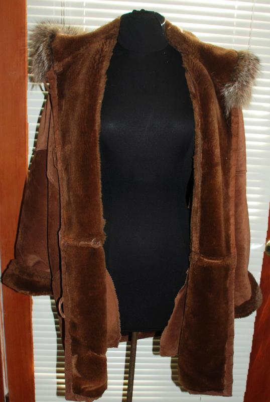 Marvin Richards  Brown Suede Fleece lined Parka with Hood Womens Size Med.