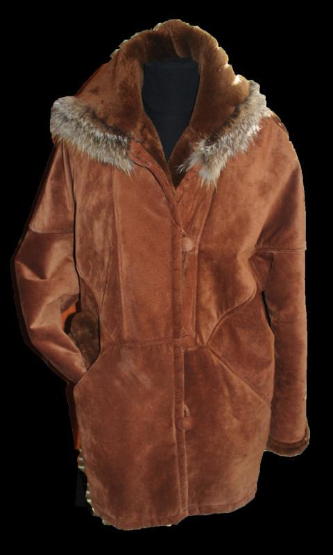 Marvin Richards  Brown Suede Shearling  Parka with Hood Womens Size Med.