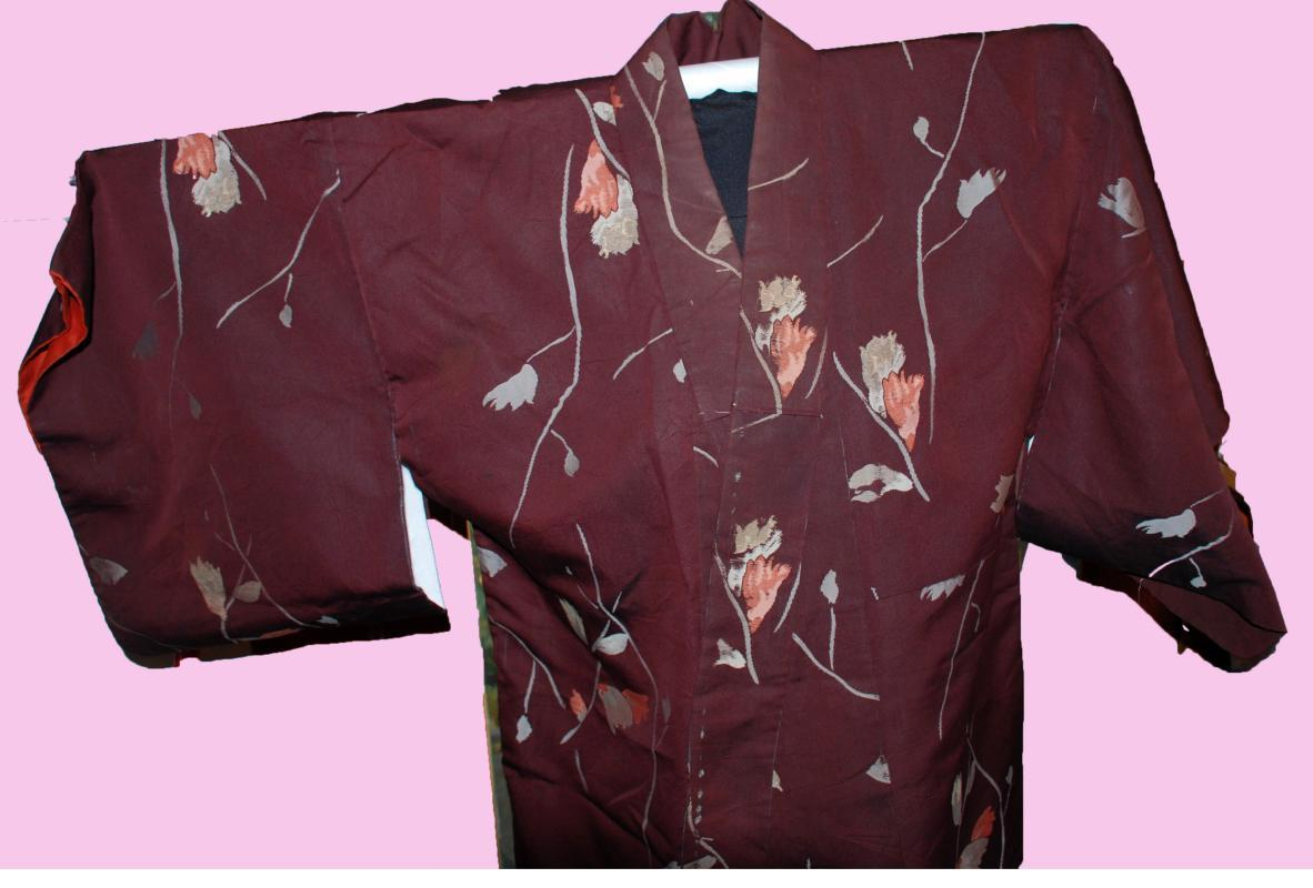 Vintage Japanese   Kimono Silk  Brown with Flowers