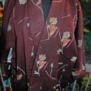 Vintage Japanese   Kimono Silk  Brown with Flowers