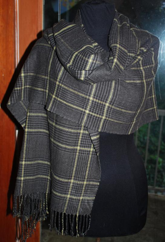 Long Cashmere Scarf Dark Grey with Yellow & Charcoal