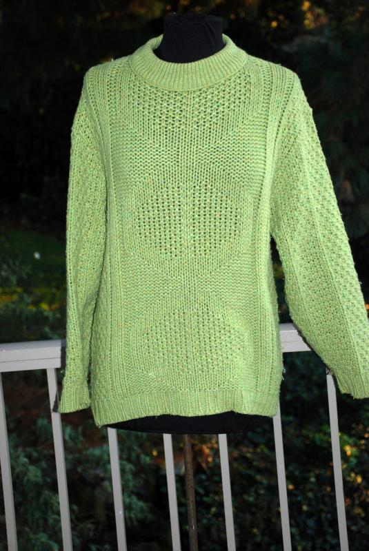 Vintage Millwaukee Knits Chartreuse Cable Knit Sweater, Ski Sweater , Pull over Size m