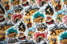 Bowling Theme Cotton Fabric Remnant  80